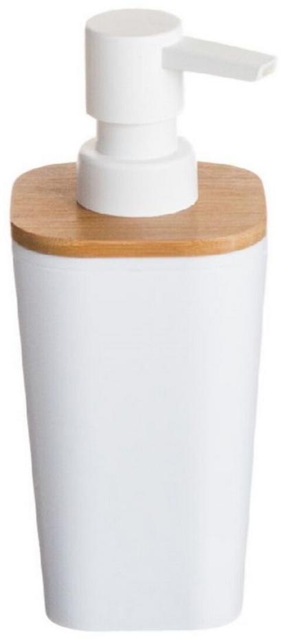 Дозатор для жидкого мыла  объемом 350 мл. Он изготовлен из пластика и дерева. Дозатор удобен в использовании и отлично впишется в интерьер вашей ванной комнаты.