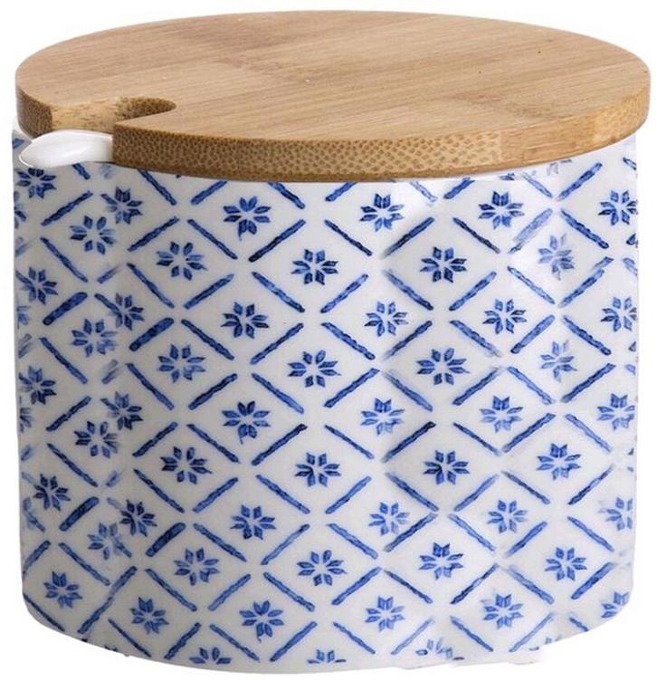 Сахарница DCasa Bamboo, цвет: белый, синий, бежевый, с ложкой, 200 мл2776181Сахарница DCasa Bamboo изготовлена из керамики и дополнена деревянной крышечкой. Модель декорирована нежным принтом. В комплект входит ложечка.