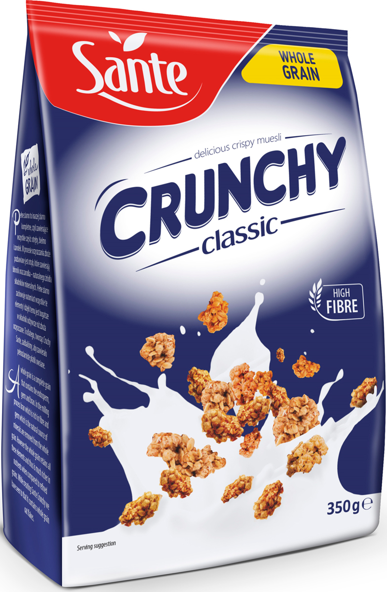 Sante Crunchy хрустящие овсяные хлопья классические, 350 г sante granola хрустящие злаковые хлопья