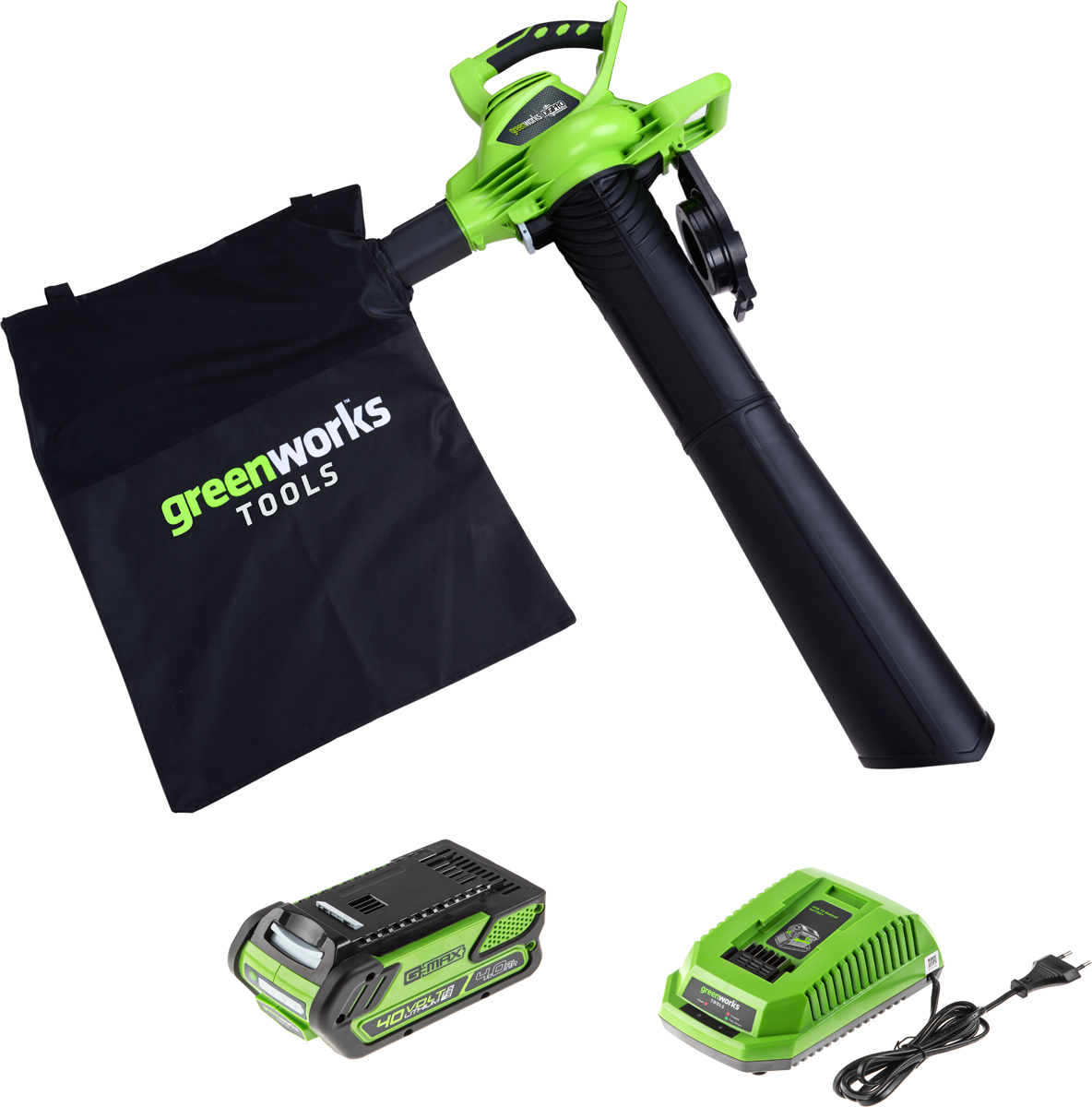 Воздуходувка пылесос садовый аккумуляторный Greenworks линейки 40 вольт (модель GD40BV) - предназначен для уборки территорий от пыли и мусора, а также от опавших листьев. Основная особенность - наличие функции всасывания при помощи трубы и мешка для сбора мусора. Данный воздуходув можно легко трансформировать в садовый пылесос с функцией мульчирования. Воздуходув имеет надёжный бесщёточный двигатель серии DigiPro сопоставимый по мощности с бензиновыми аналогами. При этом он экологически чист, имеет высокий крутящий момент, низкий уровень шума и вибраций, а так же прост в эксплуатации - не требует подготовки масло-бензиновой смеси и какого-либо обслуживания.  Воздуходув имеет 6 скоростей, а максимальная скорость воздушного потока = 280 км/ч. Конструкцией предусмотрены стальные ножи для мульчирования листьев. Рукоятка имеет эргономичный дизайн с прорезиненной поверхностью. Немаловажным достоинством является компактные размеры и малый вес устройства по сравнению с бензиновой техникой, всего 4,84 кг. Предусмотрена система защиты от случайного попадания предметов в лопасти турбины. Воздуходув работает от аккумуляторной батареи G-MAX 40V, которую можно использовать с другими устройствами линейки 40V (15+ устройств). Преимущества модели:Бесщёточный индукционный двигатель серии DigiPro;2 в 1 - воздуходув и садовый пылесос;Труба и мешок для сбора листьев в комплекте;Максимальная скорость воздушного потока 280 км/ч.;Легкий вес - 4,84 кг.;Включение одной кнопкой;Работа от 40V аккумулятора совместимого с другими устройствами из линейки 40 вольт;Гарантия 2 года.Состав комплекта:G-MAX 40V аккумуляторный садовый воздуходув пылесос арт. 24227;Аккумуляторная батарея 40V G-MAX на 4 А/ч, артикул 29727;Зарядное устройство на 40V, артикул 2904607;Труба и мешок для сбора листьев;.Руководство по эксплуатации;Гарантийный талон.