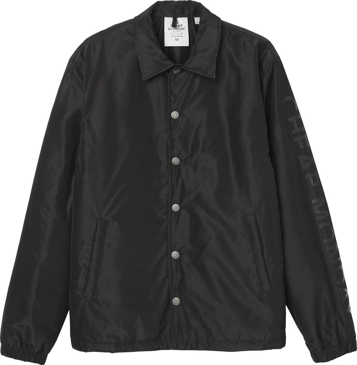 Куртка мужская Cheap Monday, цвет: черный. 0526819. Размер M (48)0526819_BLACKКуртка мужская Cheap Monday выполнена из полиэстера. Модель с отложным воротником и длинными рукавами застегивается на пуговицы и дополнена втачными карманами.