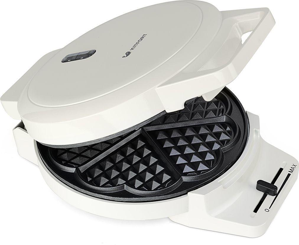Kitfort КТ-1624, White вафельницаКТ-1624С помощью электрической вафельницы Kitfort KT-1624 можно испечь венские вафли. Вафельница оснащена световым индикатором нагрева и независимыми нагревателями в каждой половинке формы. Термостат с плавной регулировкой позволяет выставить температуру приготовления. Противоскользящие ножки не дают прибору скользить по столу во время готовки.