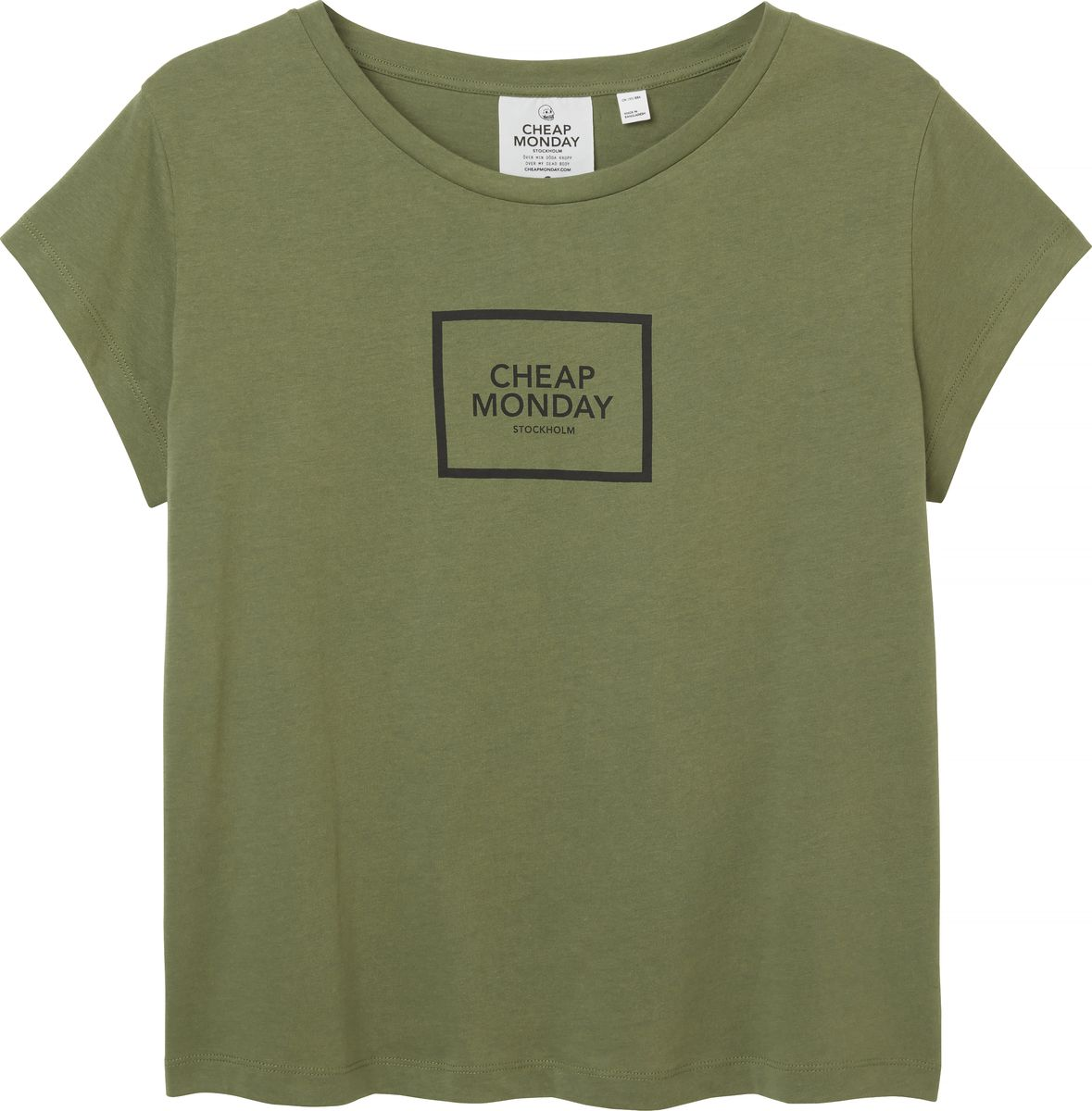 Футболка женская Cheap Monday, цвет: оливковый. 0506127. Размер XS (40) свитшот женский cheap monday цвет оливковый 0556772 размер m 44