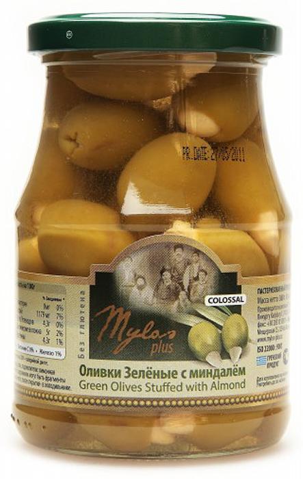 Mylos plus Colossal Оливки зеленые с миндалём, 0,37 л mylos plus colossal оливки зелёные 0 37 л