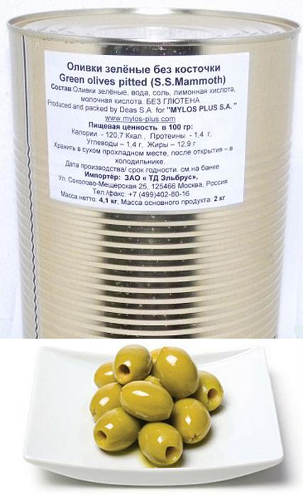 Mylos plus S.S.Mammoth Оливки зеленые без косточки, 4,326 л (вес основного продукта 2 кг) delphi оливки без косточки в рассоле colossal 121 140 820 г