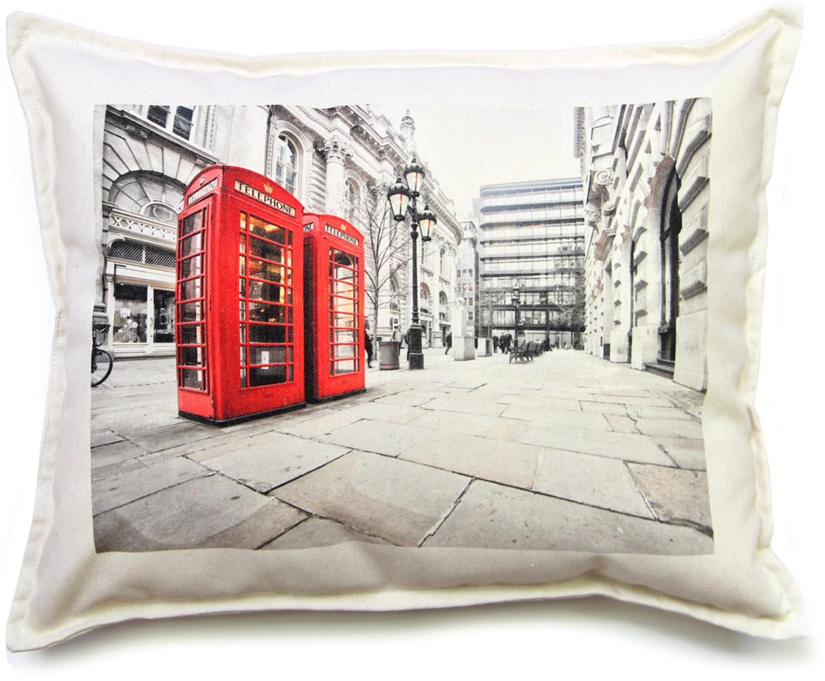 Подушка декоративная Штучки, к которым тянутся ручки Лондон холст. Телефонная будка, цвет: серый, 48 x 38 см clem пазл 500эл классика 30263 лондон красная телефонная будка