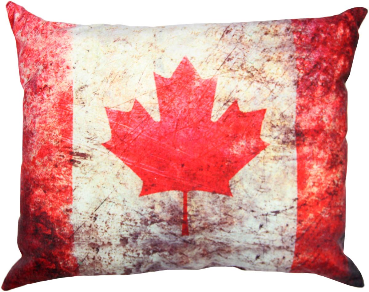 Подушка декоративная Штучки, к которым тянутся ручки Флаг холст. Канада, цвет: красный, белый, 48 x 38 см подушка декоративная штучки к которым тянутся ручки лондон холст телефонная будка цвет серый 48 x 38 см