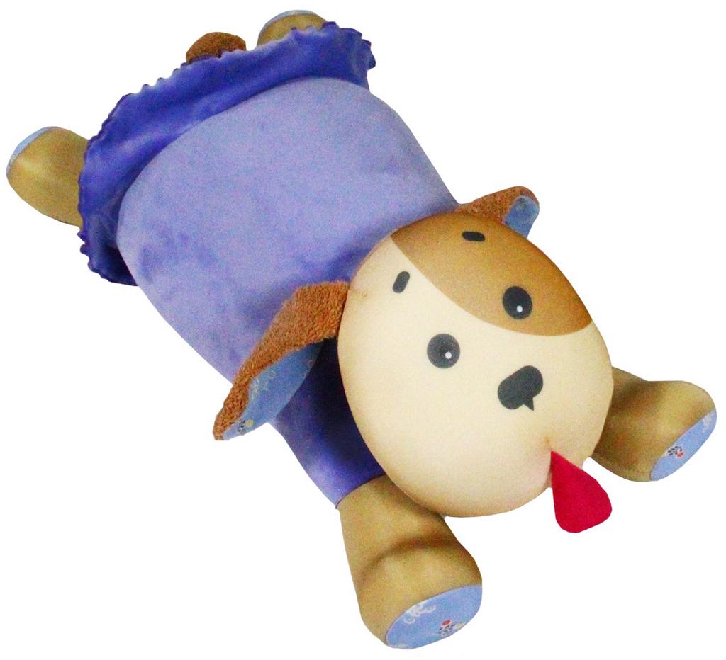 """Подушка-валик антистрессовая Штучки, к которым тянутся ручки """"Собачка Мила"""", цвет: фиолетовый, 55 x 23 см"""