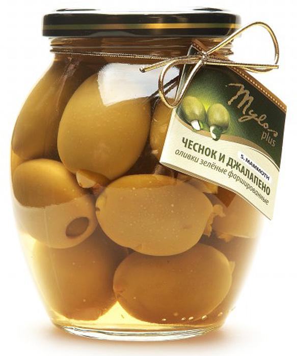 Mylos plus S.Mammoth Оливки зелёные с чесноком и джалапено, 0,395 л lutik оливки зеленые с анчоусом 314 мл