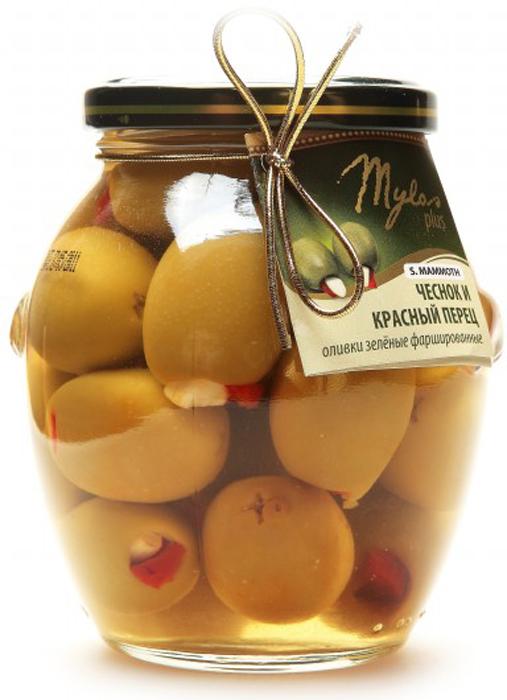 Mylos plus S.Mammoth Оливки зелёные с чесноком и красным перцем, 0,395 л mylos plus colossal оливки зелёные 0 37 л