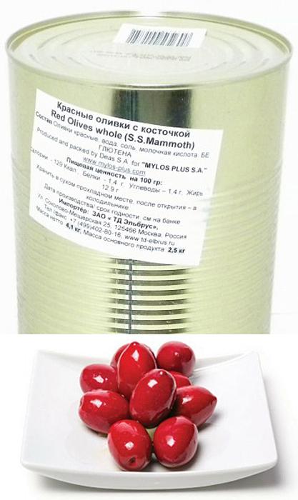 Mylos plus S.S.Mammoth Оливки красные, 4,326 л (вес основного продукта 2,5 кг) оливки чёрные delphi с косточкой в рассоле размер оливок 91 100 4 25 кг