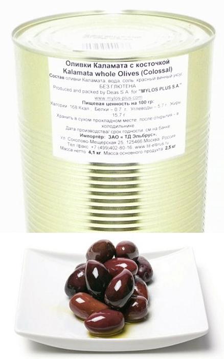 Mylos plus Colossal Оливки каламата, 4,326 л (вес основного продукта 2,5 кг) mylos plus перец красный жареный 0 5 л