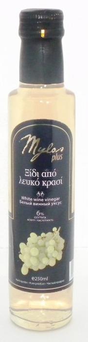 Mylos Plus Уксус Белый Винный, 6%, 0,25 л5206845002512Данный бальзамический уксус уникален тем, что он сделан из винограда, растущего в Греции, на острове Крит, в местечке Милопотамос. Обладает особым ароматом и сбалансированным кисло-сладким вкусом.