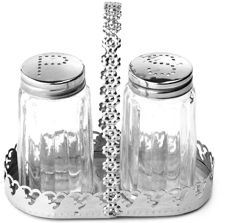 """Компактный набор для специй """"ENS Group"""", состоящий из солонки и перечницы, изготовлен из стекла и нержавеющей стали.Металлическая подставка, входящая в набор, делает и его еще более функциональным и удобным в использовании."""