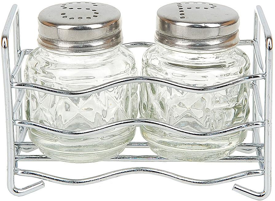"""Компактный набор для специй """"ENS Group"""", состоящий из солонки, перечницы и салфетницы, изготовлен из стекла и нержавеющей стали.Металлическая подставка, входящая в набор, делает и его еще более функциональным и удобным в использовании."""