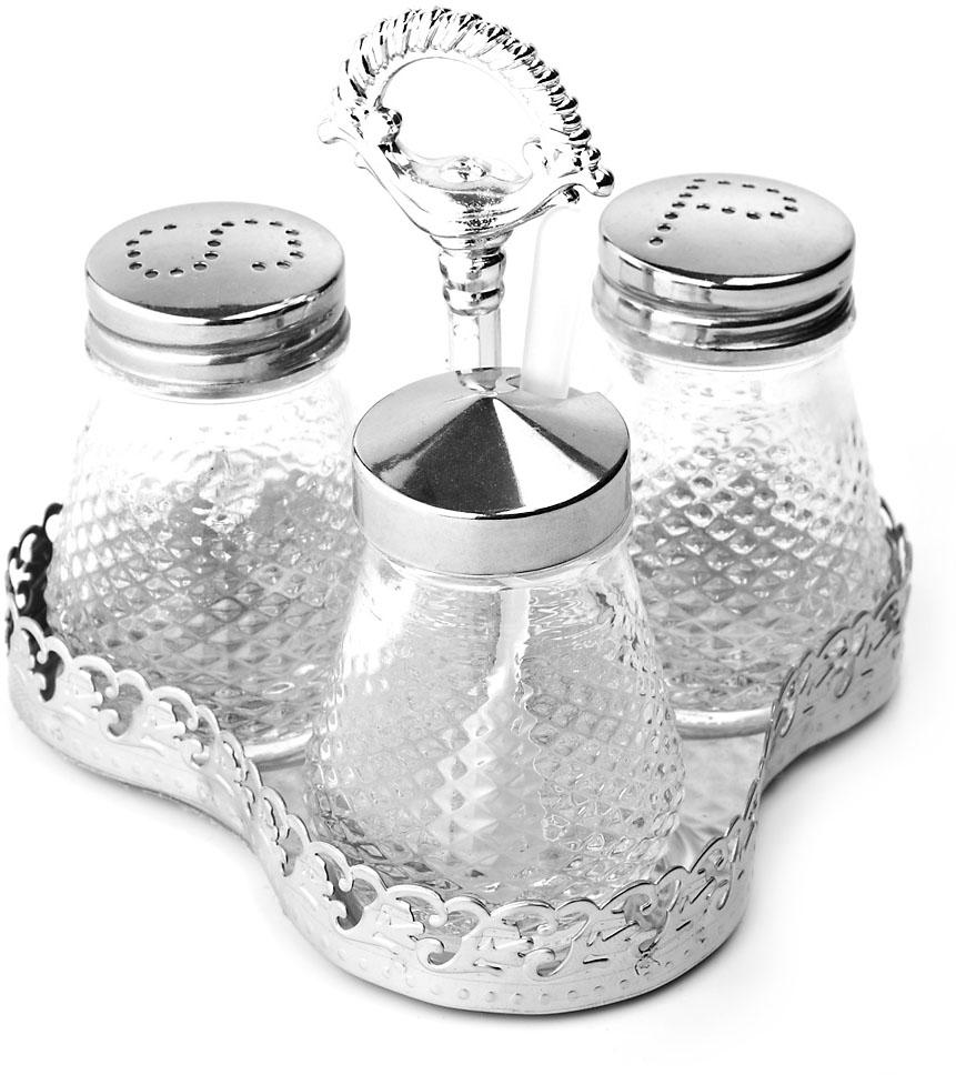 """Компактный набор для специй """"ENS Group"""", состоящий из солонки, перечницы и универсальной баночки для специй с ложкой, изготовлен из стекла и нержавеющей стали.Металлическая подставка, входящая в набор, делает и его еще более функциональным и удобным в использовании."""