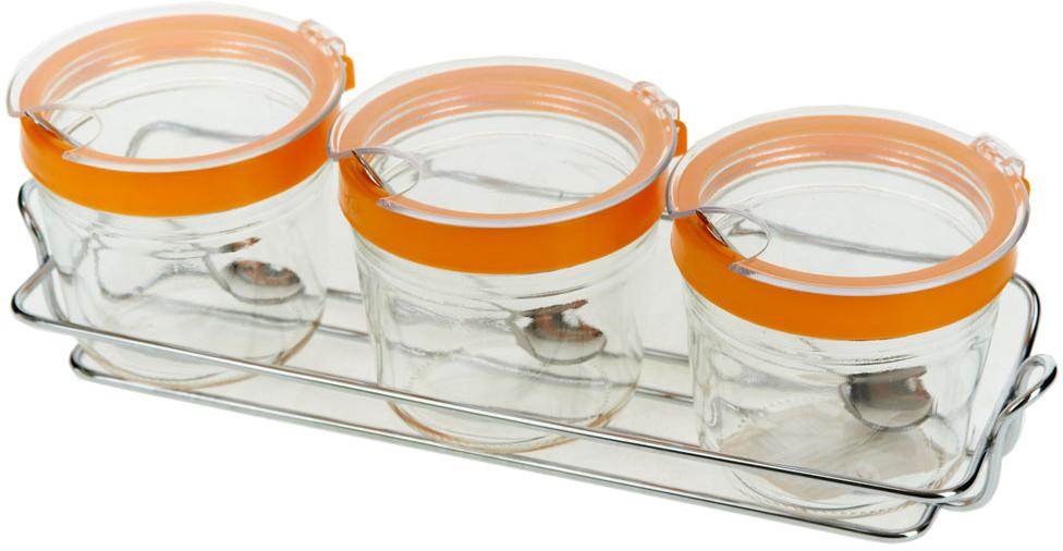 Набор банок для сыпучих продуктов SinoGlass, с ложками, на подставке, 200 мл. 7 предметов банка для сыпучих продуктов sinoglass подсолнухи тосканы большая page 5