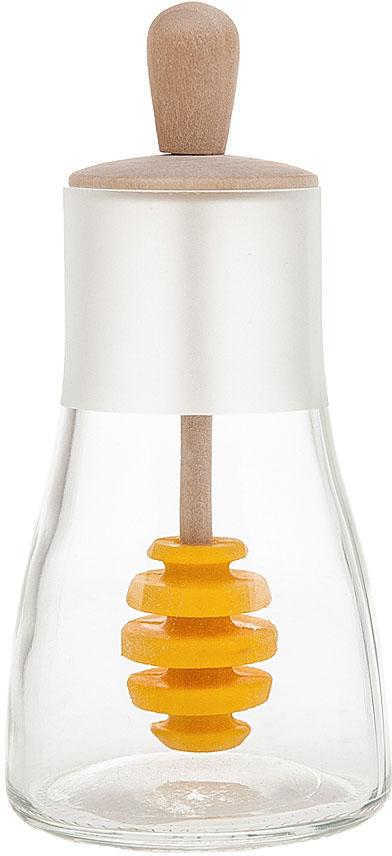 """Банка для меда """"Best Home Kitchen"""" выполнена из прозрачного стекла.  Встроенная в крышку ложечка для меда, делает использование наиболее удобным."""