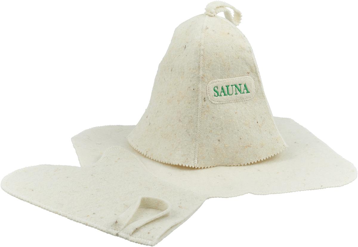 """Набор Ecology Sauna """"Сауна"""" включает в себя все необходимое для посещения сауны. Колпак впитывает пот и защищает голову от перегрева. Коврик защищает от ожогов и бактерий. Рукавица позволяет держать в руке веник и другие горячие предметы.  Все предметы комплекта изготовлены из овечьей шерсти."""
