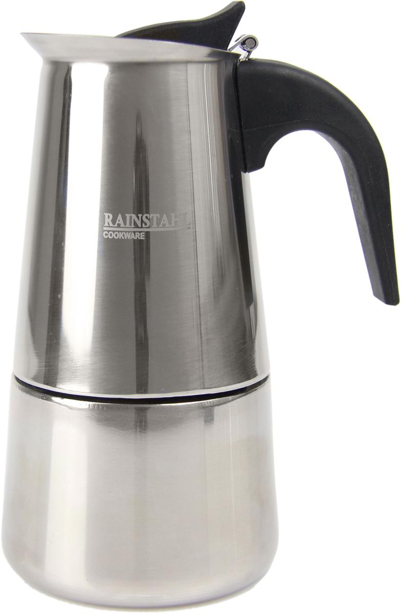 Кофеварка гейзерная Rainstahl, на 2 чашки, цвет: стальной, 100 мл8800-02RS\CMГейзерная кофеварка из высококачественной нержавеющей стали Rainstahl рассчитана на 2 чашки кофе. Имеет не нагревающеюся бакелитовую ручку, одно дополнительное силиконовое кольцо.