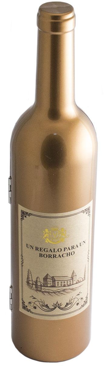 Набор винный Эврика Бутылка золотая, высота 32 см