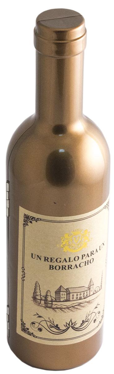 Набор винный Эврика Бутылка золотая, высота, 23,5 см