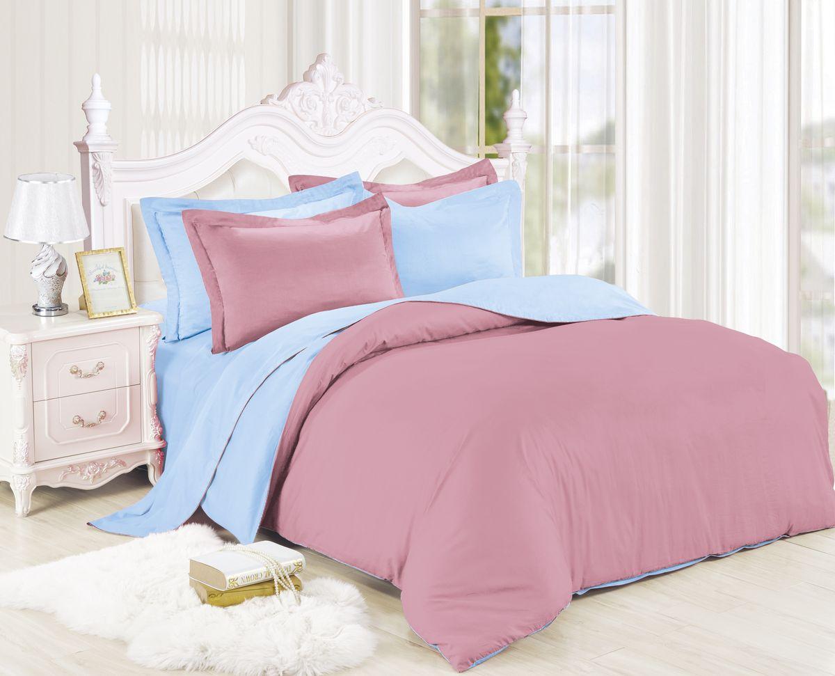 Комплект белья Павлина Трепет, евро, наволочки 70x70, цвет: синий комплект постельного белья павлина простые вещи евро наволочки 70x70 цвет коричневый