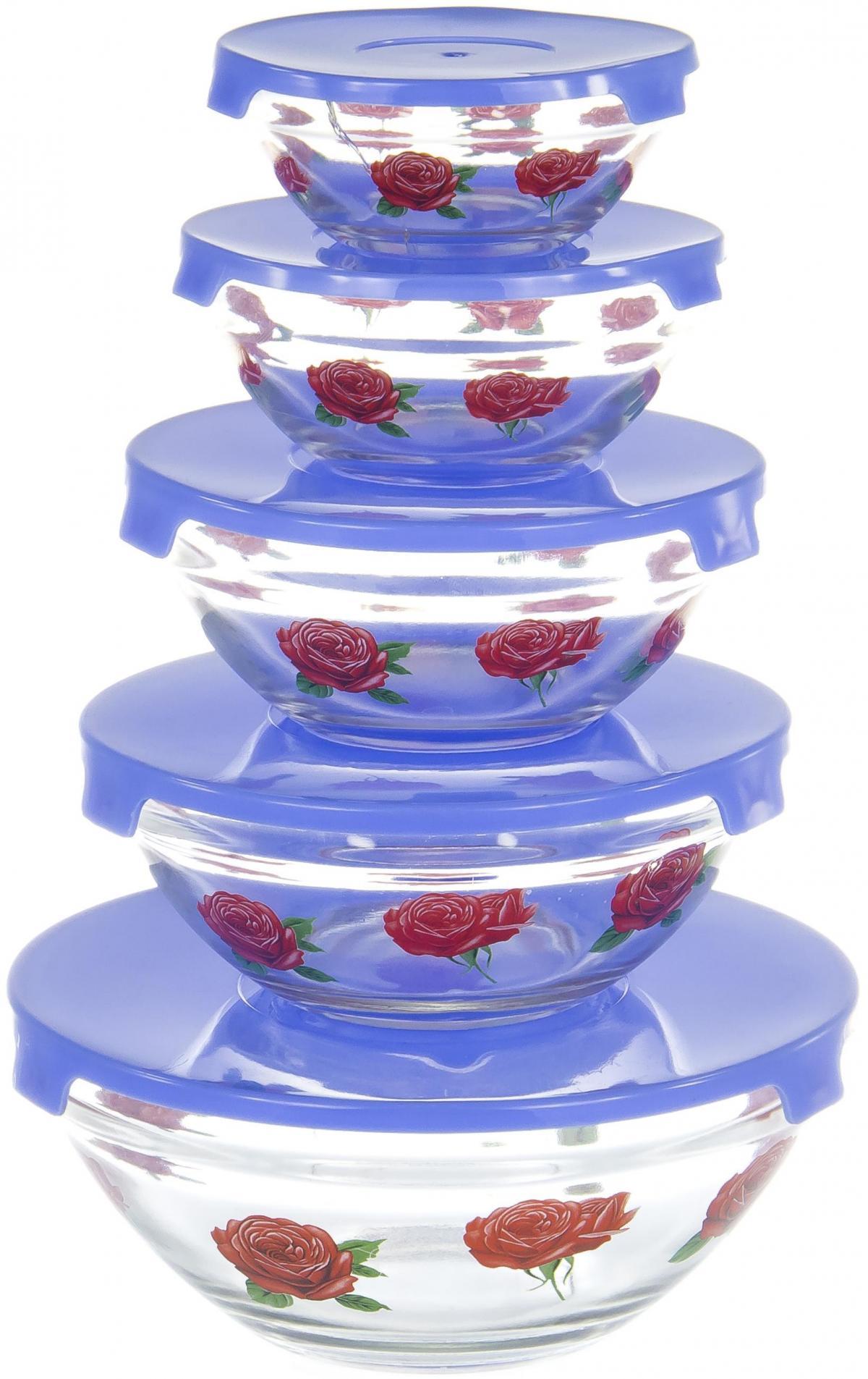 Набор салатников Olaff, с крышкой, 5 предметов. AX-5SB-B-01AX-5SB-B-01набор 5 салатников d-100мм, 103мм, 125мм, 140мм, 170мм с пластик.крышками, подарочная упаковка