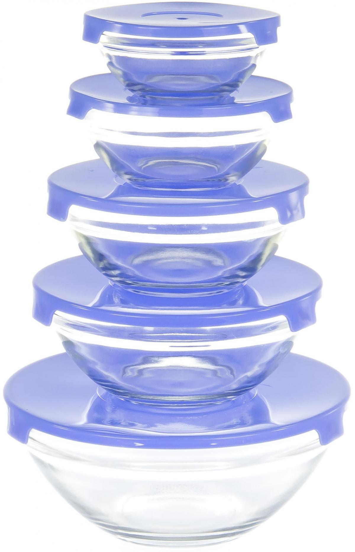 Набор салатников Olaff, с крышкой, 5 предметов. AX-5SB-BAX-5SB-Bнабор 5 салатников d-100мм, 103мм, 125мм, 140мм, 170мм с пластик.крышками, подарочная упаковка