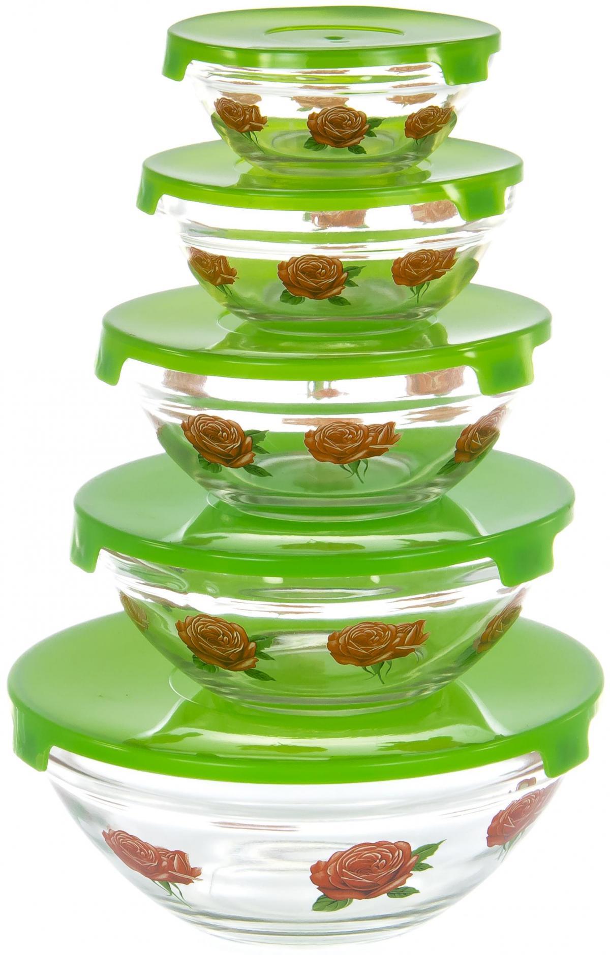 Набор салатников Olaff, с крышкой, 5 предметов. AX-5SB-G-01AX-5SB-G-01набор 5 салатников d-100мм, 103мм, 125мм, 140мм, 170мм с пластик.крышками, подарочная упаковка