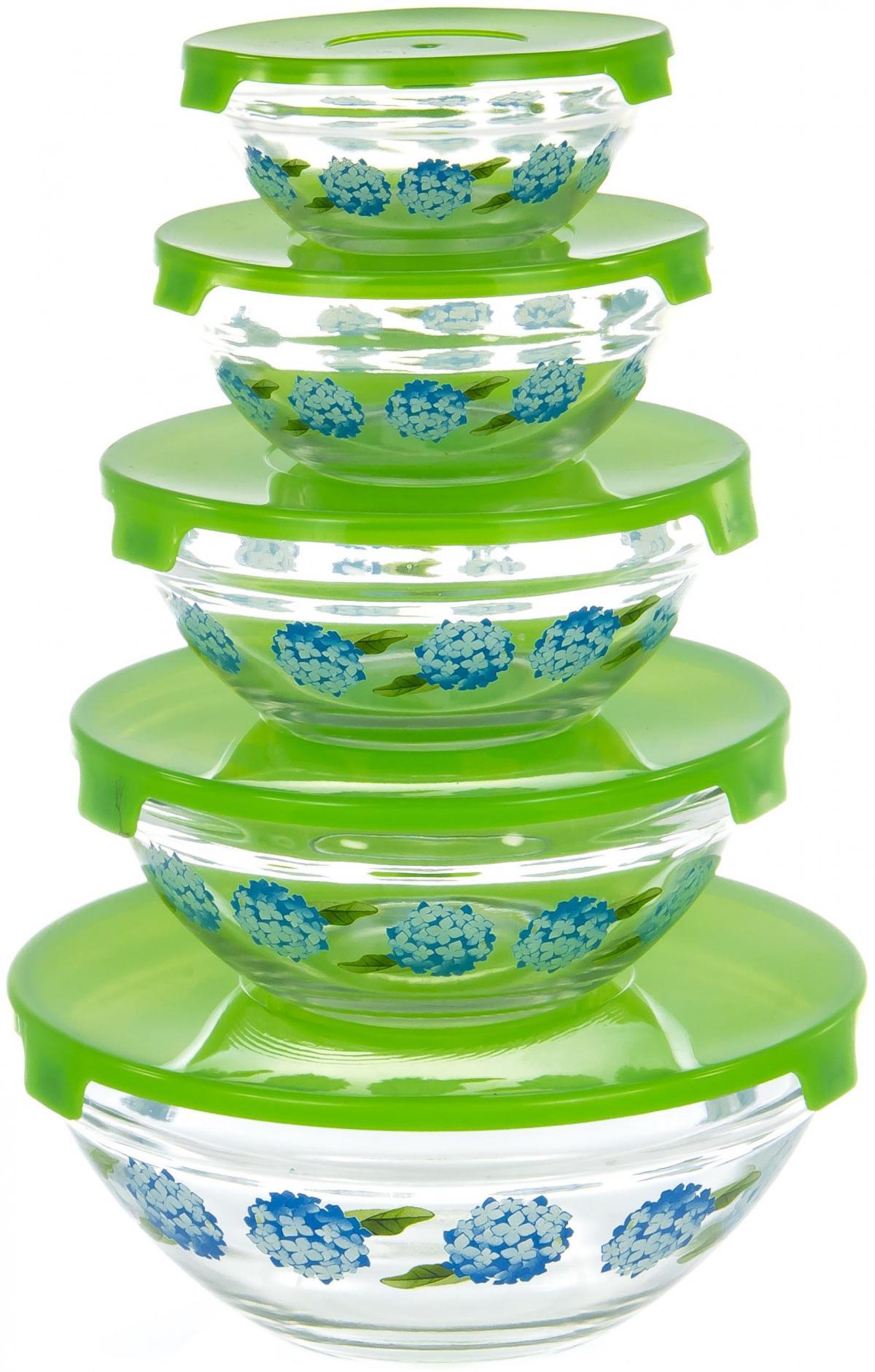 Набор салатников Olaff, с крышкой, 5 предметов. AX-5SB-G-02AX-5SB-G-02набор 5 салатников d-100мм, 103мм, 125мм, 140мм, 170мм с пластик.крышками, подарочная упаковка