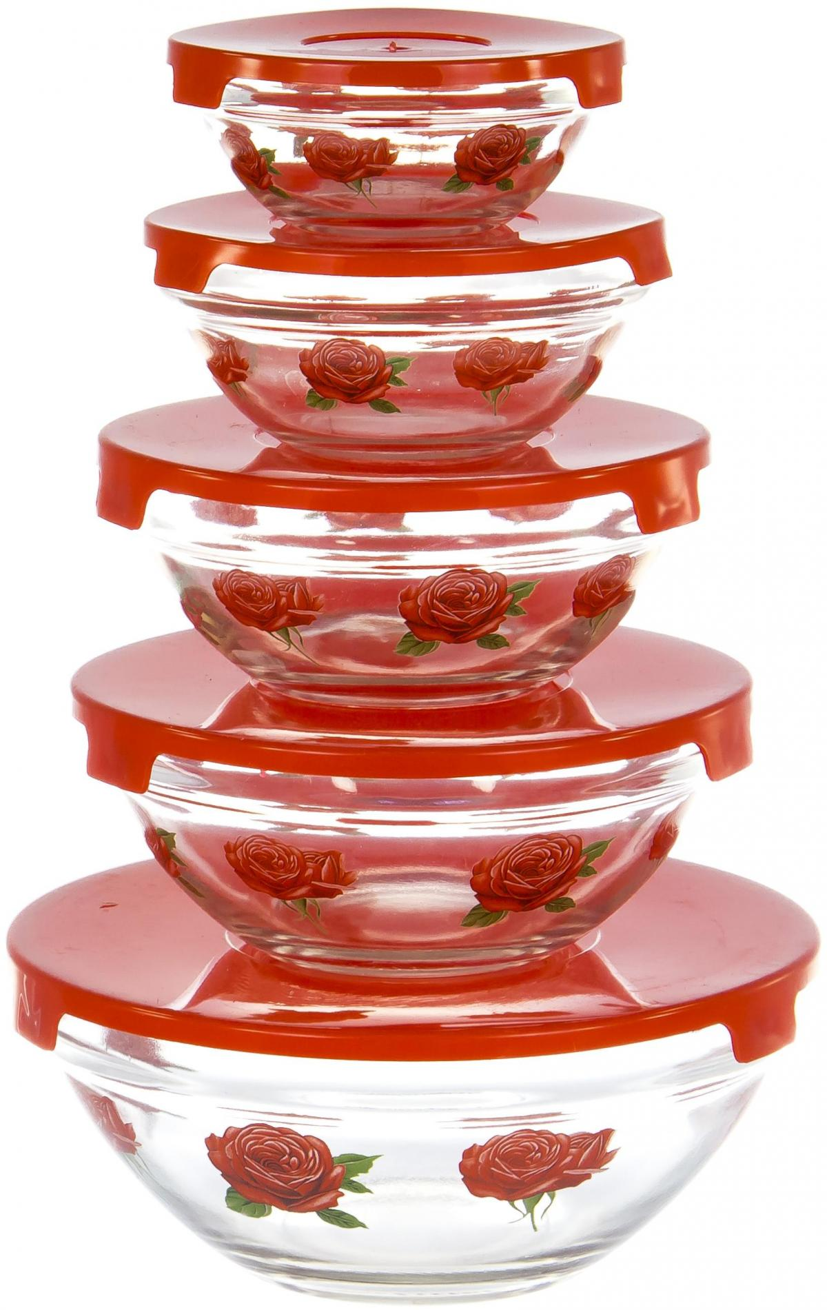Набор салатников Olaff, с крышкой, 5 предметов. AX-5SB-R-01AX-5SB-R-01набор 5 салатников d-100мм, 103мм, 125мм, 140мм, 170мм с пластик.крышками, подарочная упаковка