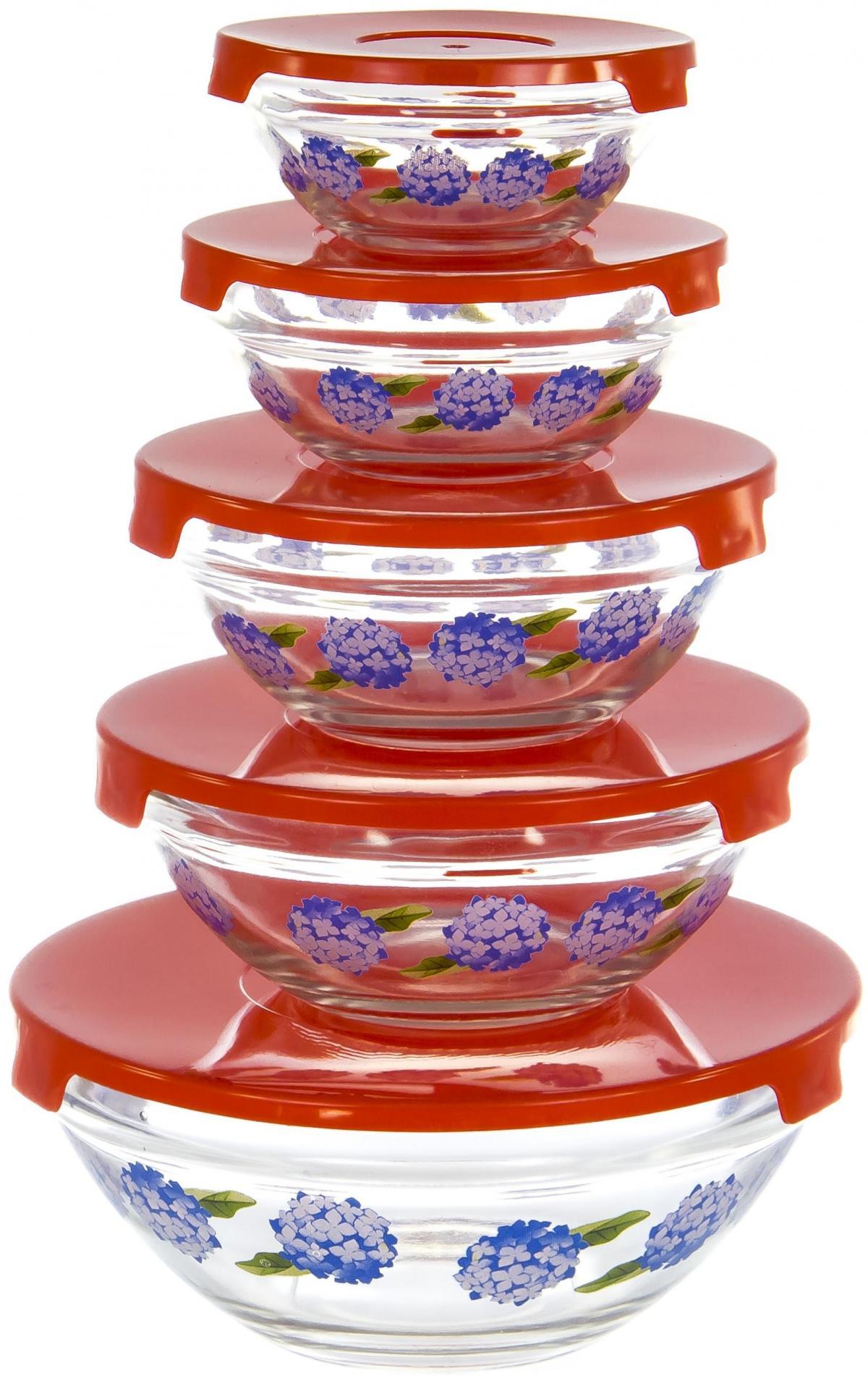 Набор салатников Olaff, с крышкой, 5 предметов. AX-5SB-R-02AX-5SB-R-02набор 5 салатников d-100мм, 103мм, 125мм, 140мм, 170мм с пластик.крышками, подарочная упаковка