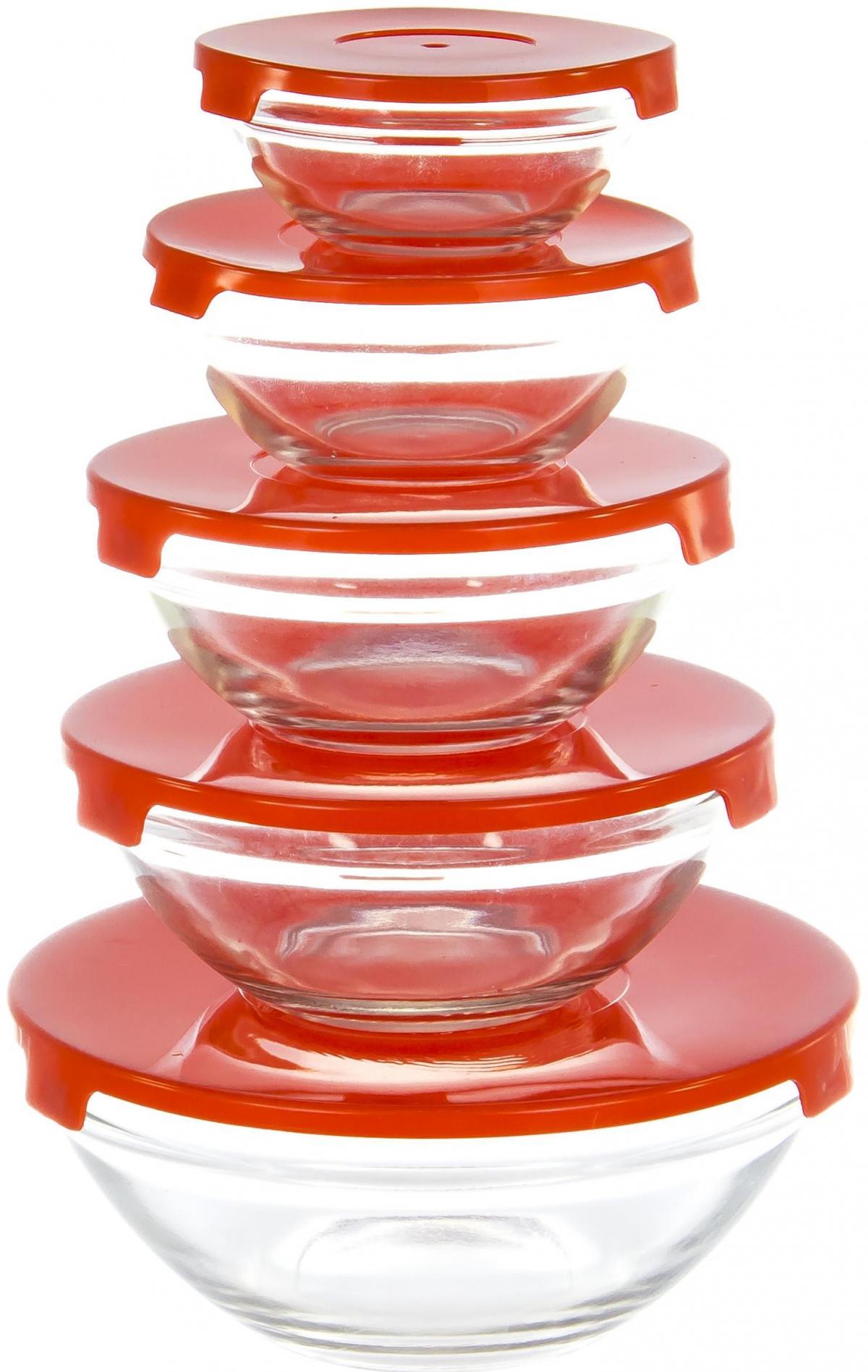 Набор салатников Olaff, с крышкой, 5 предметов. AX-5SB-RAX-5SB-Rнабор 5 салатников d-90мм, 103мм, 125мм, 140мм, 170мм с пластик.крышками, подарочная упаковка