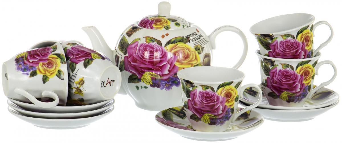 Набор чайный Olaff Square Gift Box, 13 предметов. CM-F13-SGB-011CM-F13-SGB-011SQUARE GIFT BOX, набор чайный (13) 6 чашек 250мл + 6 блюдец + чайник 1000мл, подарочная упаковка