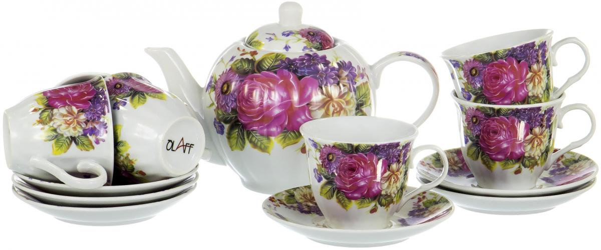 Набор чайный Olaff Square Gift Box, 13 предметов. CM-F13-SGB-012CM-F13-SGB-012SQUARE GIFT BOX, набор чайный (13) 6 чашек 250мл + 6 блюдец + чайник 1000мл, подарочная упаковка