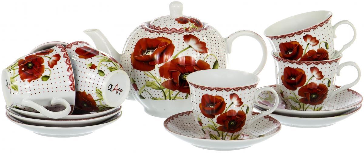 Набор чайный Olaff Square Gift Box, 13 предметов. CM-F13-SGB-020CM-F13-SGB-020SQUARE GIFT BOX, набор чайный (13) 6 чашек 250мл + 6 блюдец + чайник 1000мл, подарочная упаковка