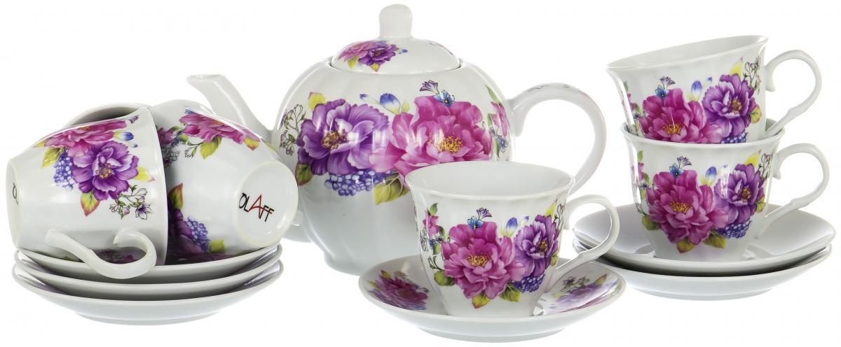 Набор чайный Olaff Square Gift Box, 13 предметов. CM-F13-SGB-023CM-F13-SGB-023SQUARE GIFT BOX, набор чайный (13) 6 чашек 250мл + 6 блюдец + чайник 1000мл, подарочная упаковка