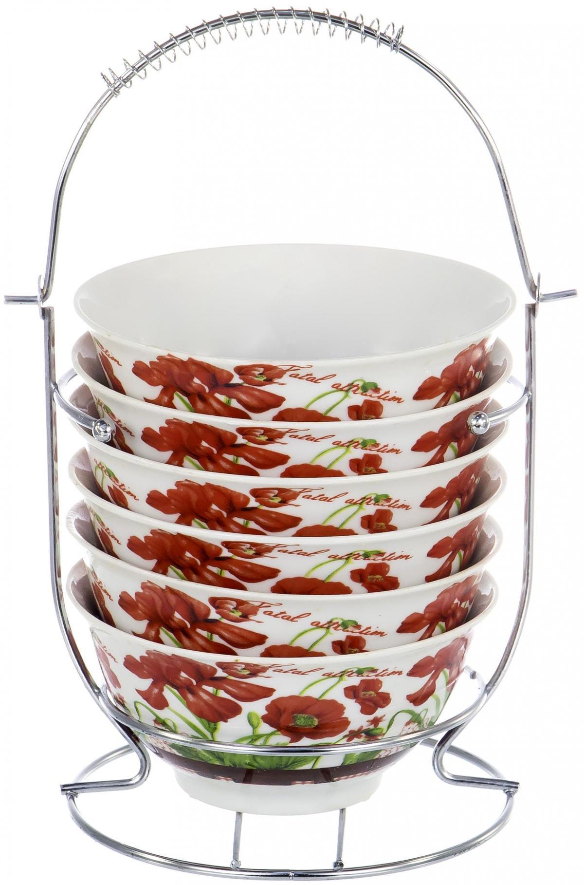 Набор салатников Olaff Bowl Set, 6 предметов. DL-BS6MS-153DL-BS6MS-153BOWL SET, набор (6) 6 салатников 300мл на метал.стенде, подарочная упаковка