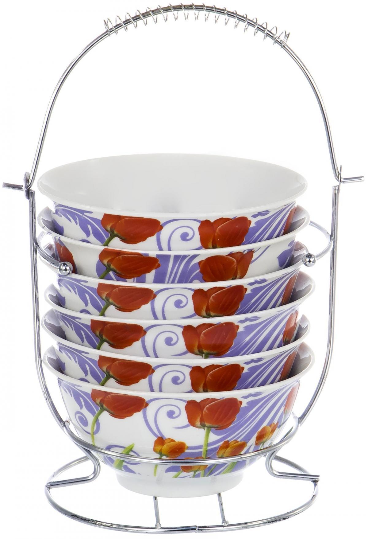 Набор салатников Olaff Bowl Set, 6 предметов. DL-BS6MS-156DL-BS6MS-156BOWL SET, набор (6) 6 салатников 300мл на метал.стенде, подарочная упаковка