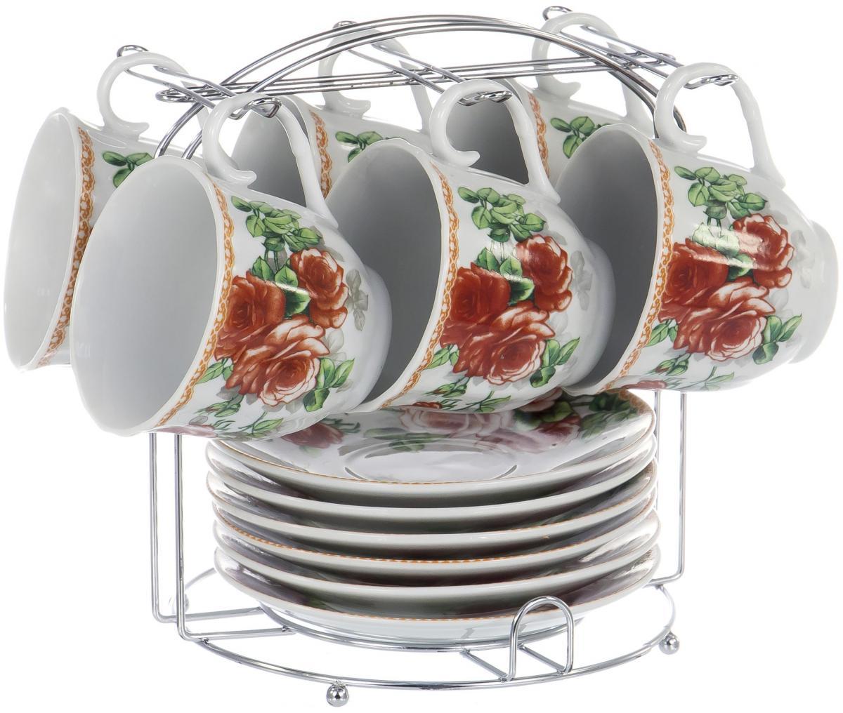 Набор чайный Olaff Metal Stand, 12 предметов. DL-F6MS-187DL-F6MS-187METAL STAND, набор чайный (12) 6 чашек 220мл + 6 блюдец на метал.стенде, упаковка - подар.квадрат.