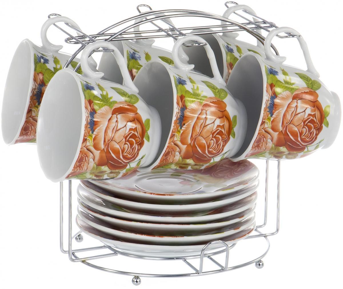Набор чайный Olaff Metal Stand, 12 предметов. DL-F6MS-194DL-F6MS-194METAL STAND, набор чайный (12) 6 чашек 220мл + 6 блюдец на метал.стенде, подарочная упаковка