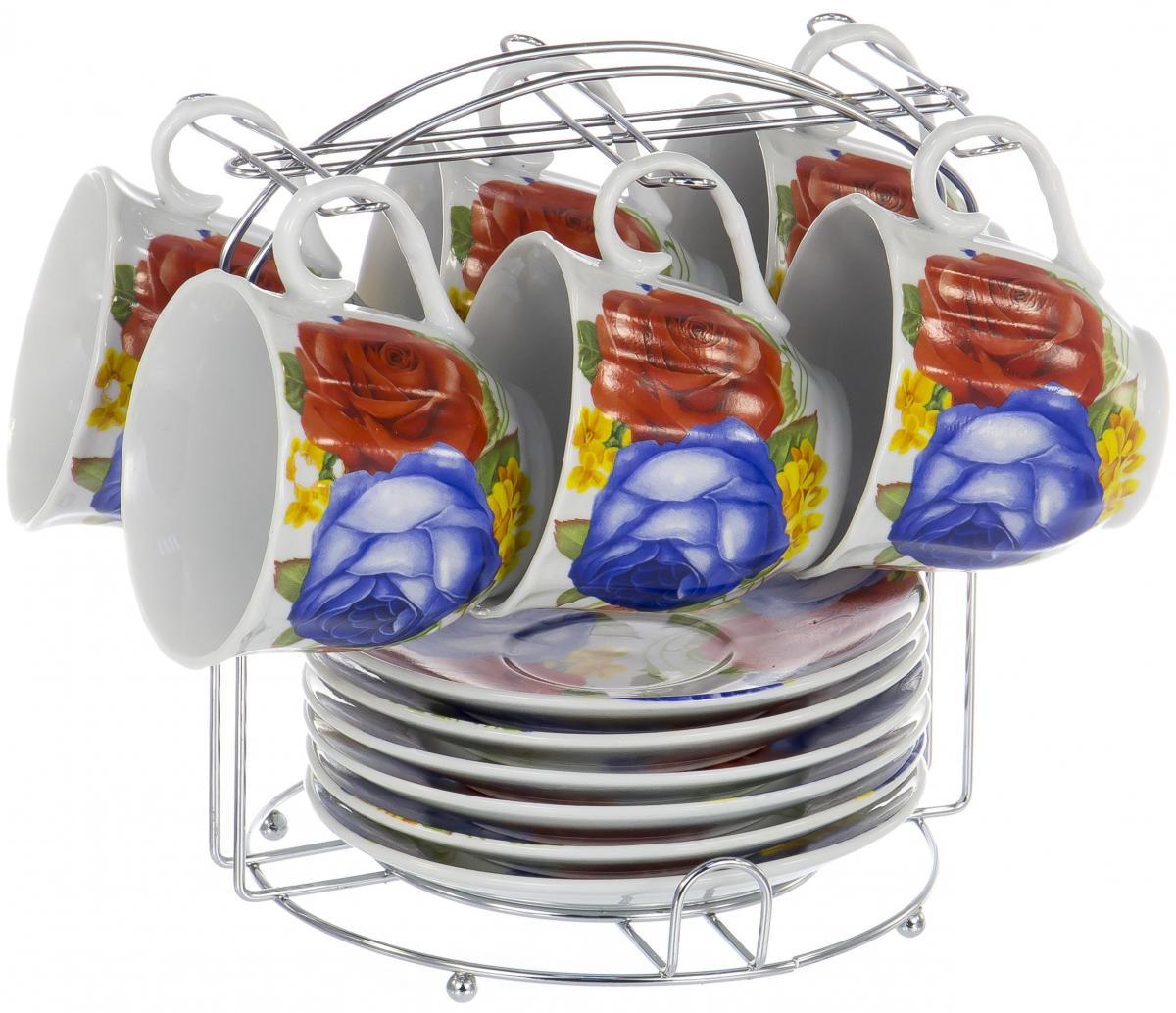 Набор чайный Olaff Metal Stand, 12 предметов. DL-F6MS-197DL-F6MS-197METAL STAND, набор чайный (12) 6 чашек 220мл + 6 блюдец на метал.стенде, подарочная упаковка