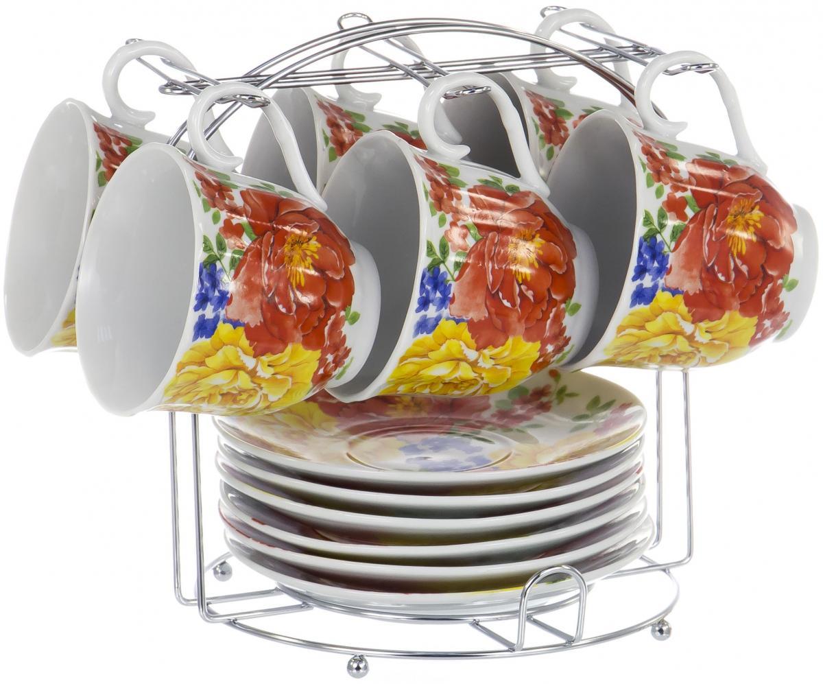 Набор чайный Olaff Metal Stand, 12 предметов. DL-F6MS-200DL-F6MS-200METAL STAND, набор чайный (12) 6 чашек 220мл + 6 блюдец на метал.стенде, подарочная упаковка