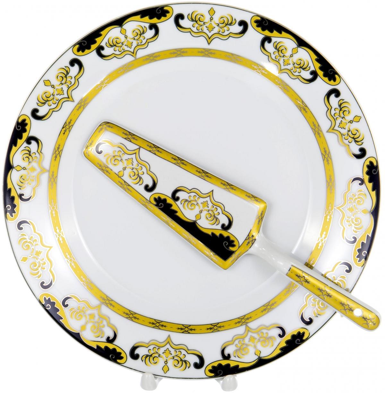 Набор для торта Olaff, 2 предмета. LRG-CPN2-002LRG-CPN2-002CAKE 2, набор д/торта (2) блюдо 255мм + лопатка, декор - золото-серебро, подарочная упаковка