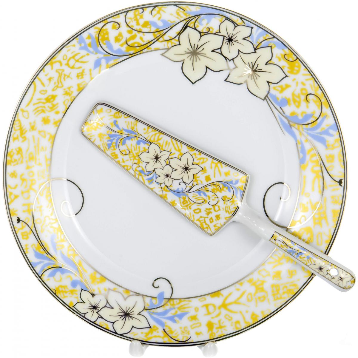 Набор для торта Olaff, 2 предмета. LRG-CPN2-006LRG-CPN2-006CAKE 2, набор д/торта (2) блюдо 255мм + лопатка, декор - золото-серебро, подарочная упаковка
