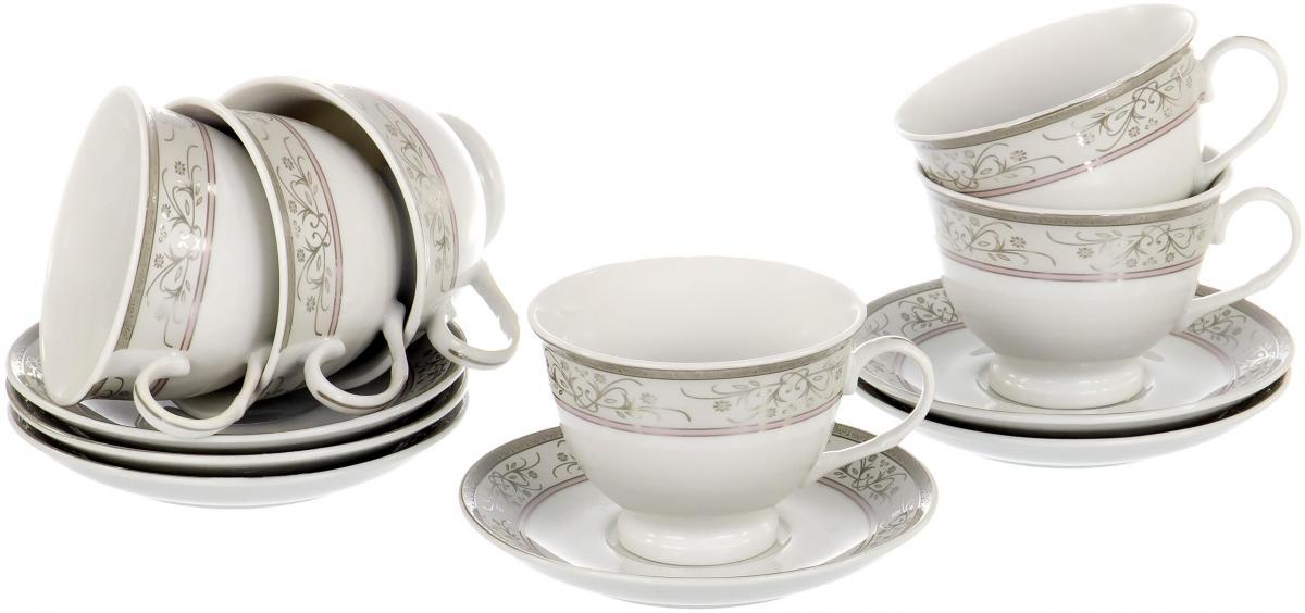 Набор чайный Olaff Round Box, 12 предметов. LRS-12RWB-007LRS-12RWB-007ROUND BOX, набор чайный (12) 6 чашек 220мл + 6 блюдец, декор - золото-серебро, подарочная упаковка