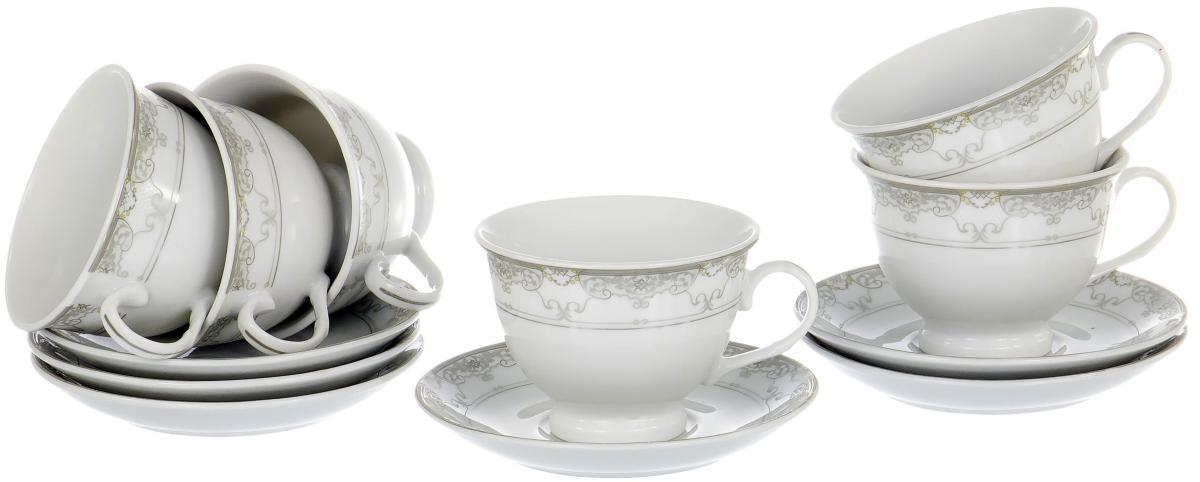 Набор чайный Olaff Round Box, 12 предметов. LRS-12RWB-010LRS-12RWB-010ROUND BOX, набор чайный (12) 6 чашек 220мл + 6 блюдец, декор - золото-серебро, подарочная упаковка