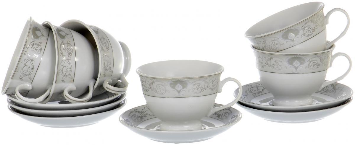 Набор чайный Olaff Round Box, 12 предметов. LRS-12RWB-012LRS-12RWB-012ROUND BOX, набор чайный (12) 6 чашек 220мл + 6 блюдец, декор - золото-серебро, подарочная упаковка