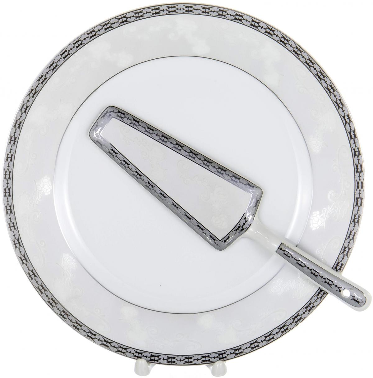 Набор для торта Olaff, 2 предмета. LRS-CPN2-009LRS-CPN2-009CAKE 2, набор д/торта (2) блюдо 255мм + лопатка, декор - золото-серебро, подарочная упаковка